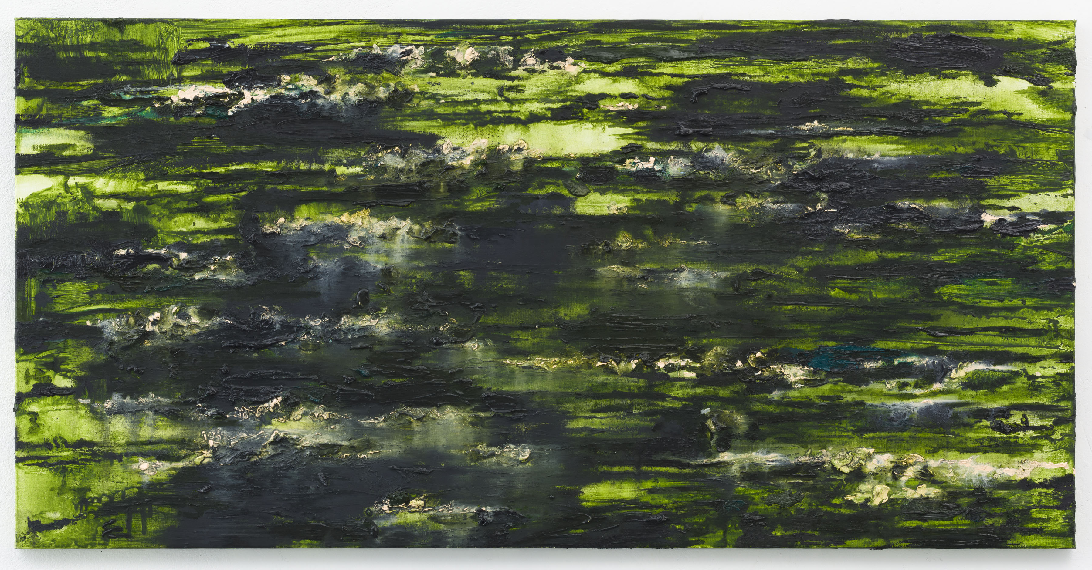 """Etang des Nympheas III"" 70 x 140 cm. oil on linen 2013"