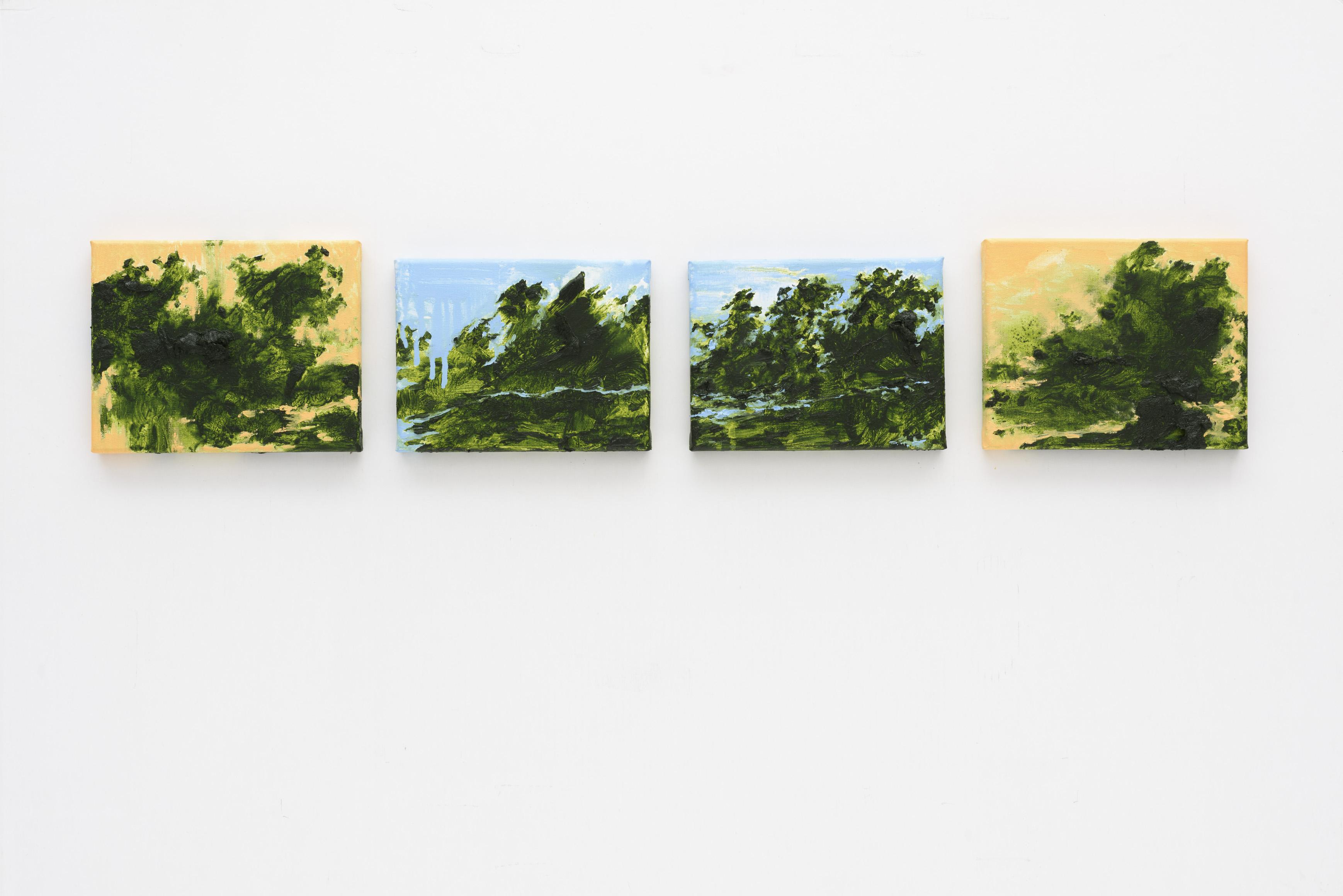 """Floresta de Primavera I, II, III, IV"" 20x25, 18x24, 18x24, 20x25 cm. oil on linen 2015"