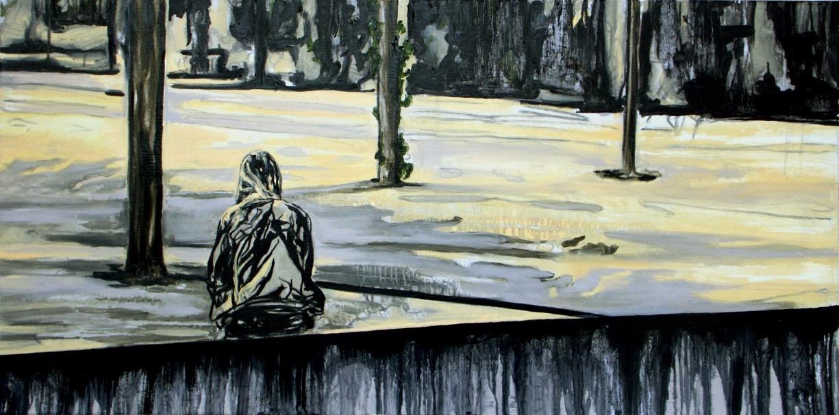 """""""Umbra"""" 80 x 140 cm. oilon linen 2003"""
