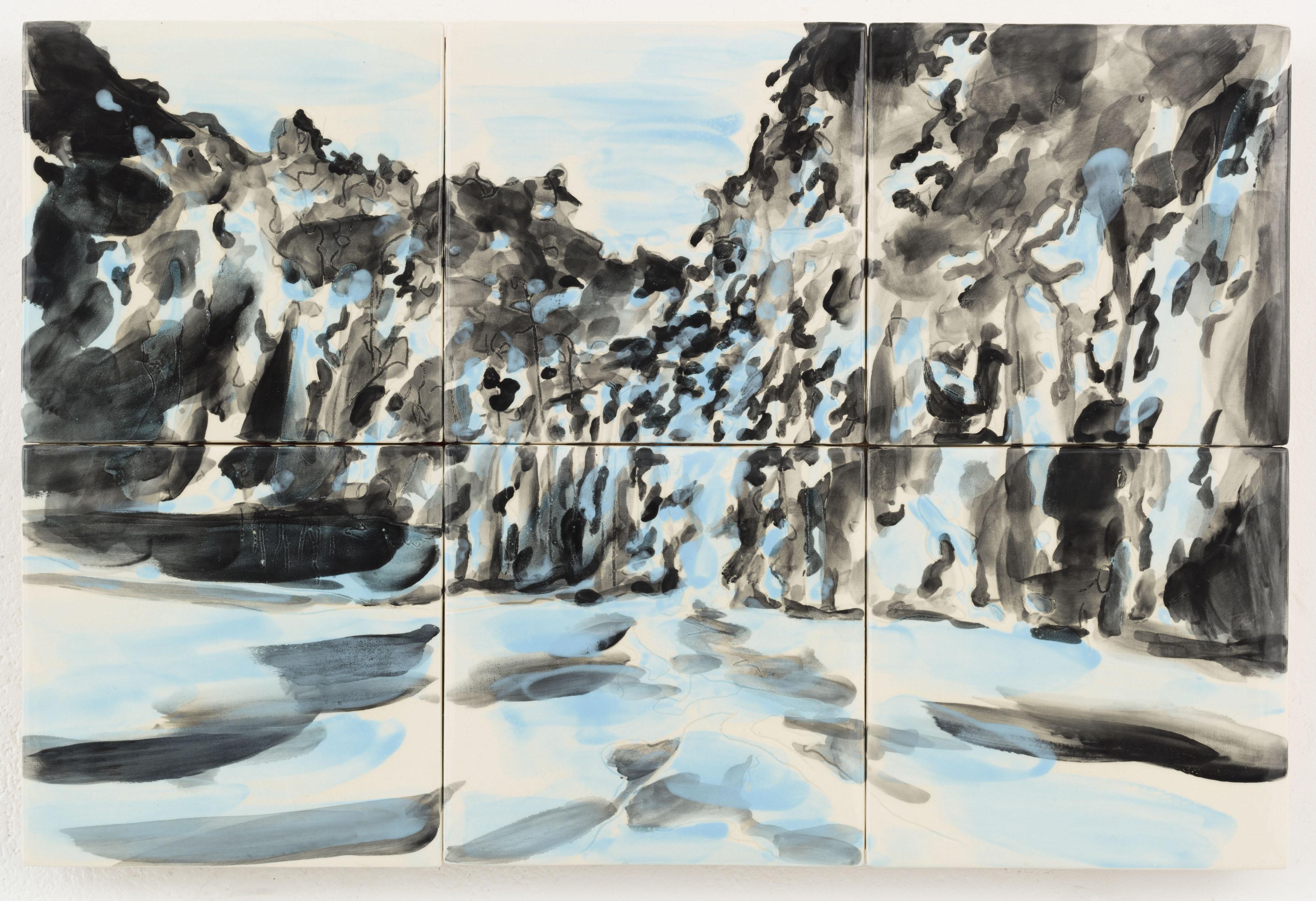"""""""Floresta II"""", 2 x 3 painted ceramic tiles, 29,3 x 44 cm., NL 2014"""