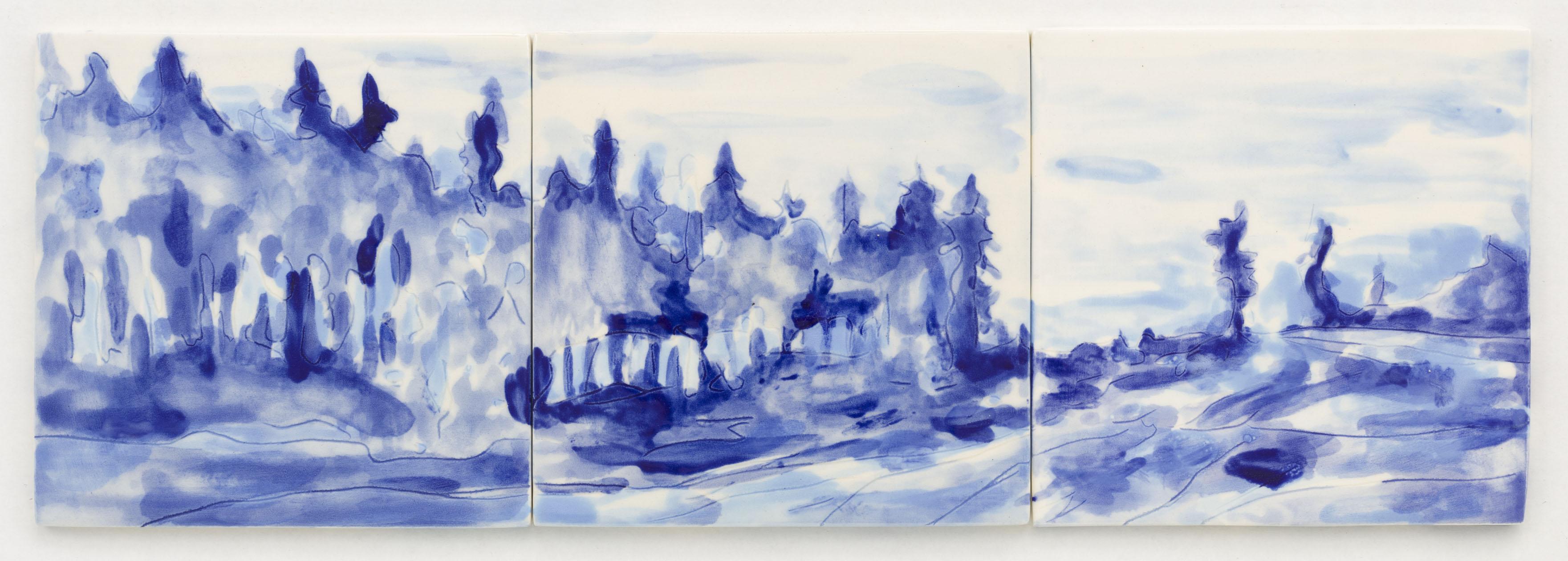 """""""Azulejo VIII"""", 1 x 3 painted ceramic tiles, 15 x 45 cm., NL 2012"""