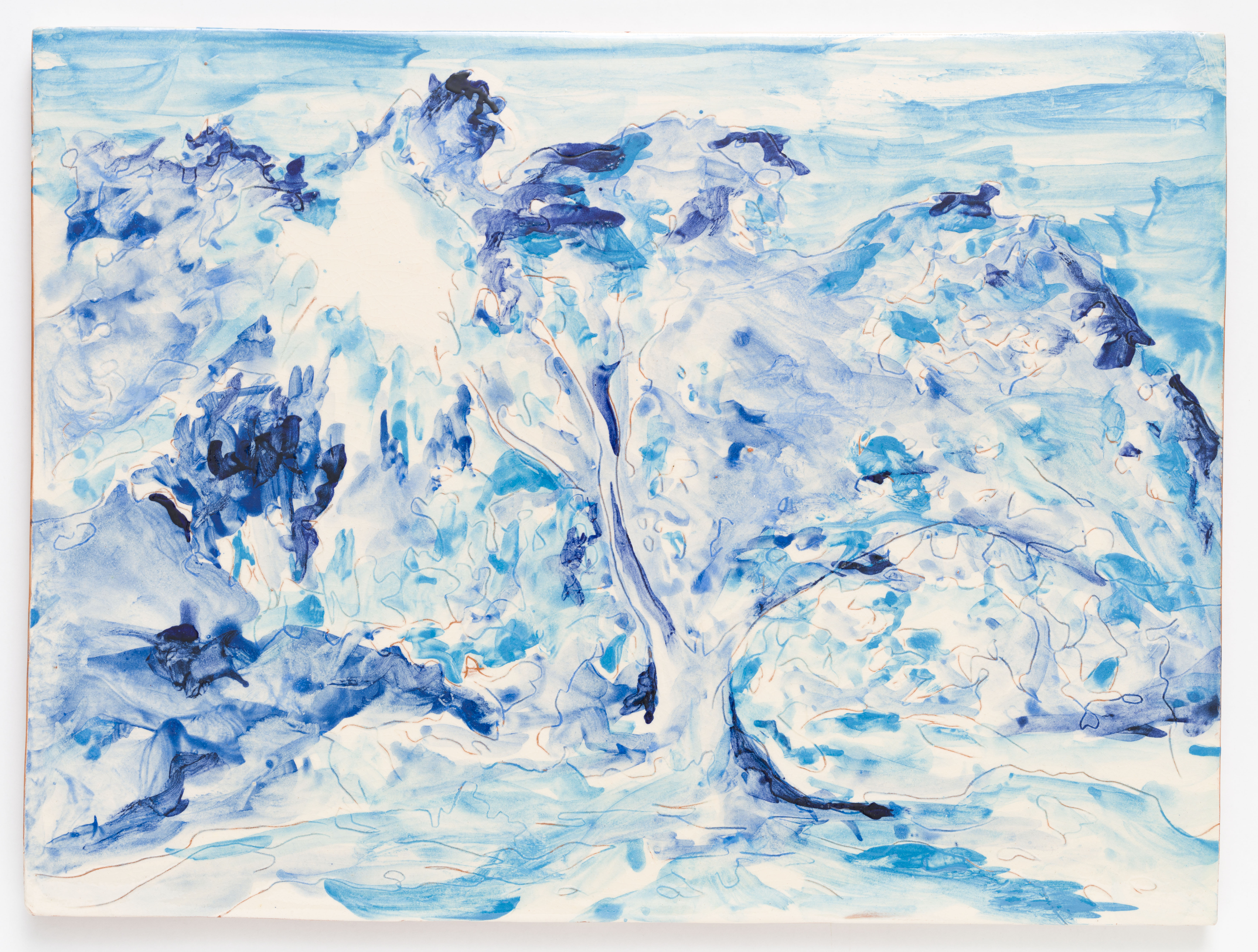 """Azulejo Azul II, painted ceramic tile, 30,5 x 40,5 cm., Portugal 2012"