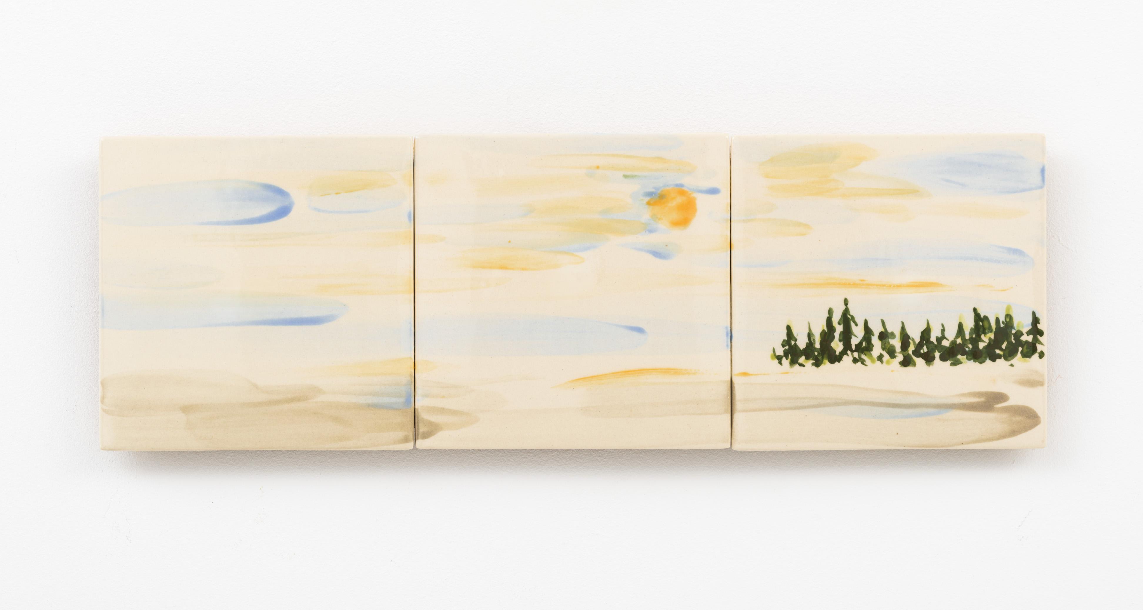 """Ochtendgloren II"", 1 x 3 painted ceramic tiles, 15 x 45 cm. , NL 2015"