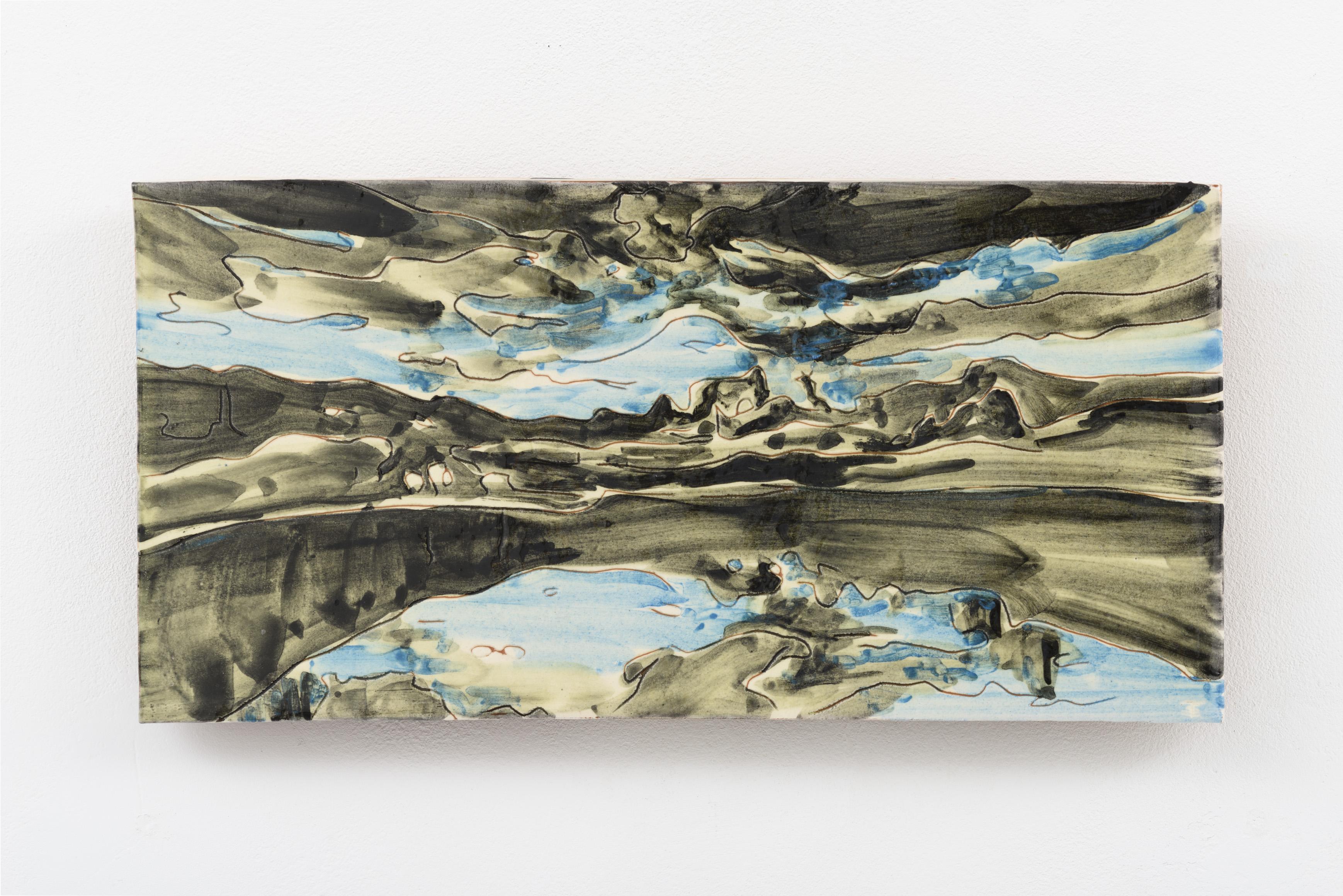 """Pedreira de marmore"", painted ceramic tile, 15 x 29 cm., Portugal 2015"