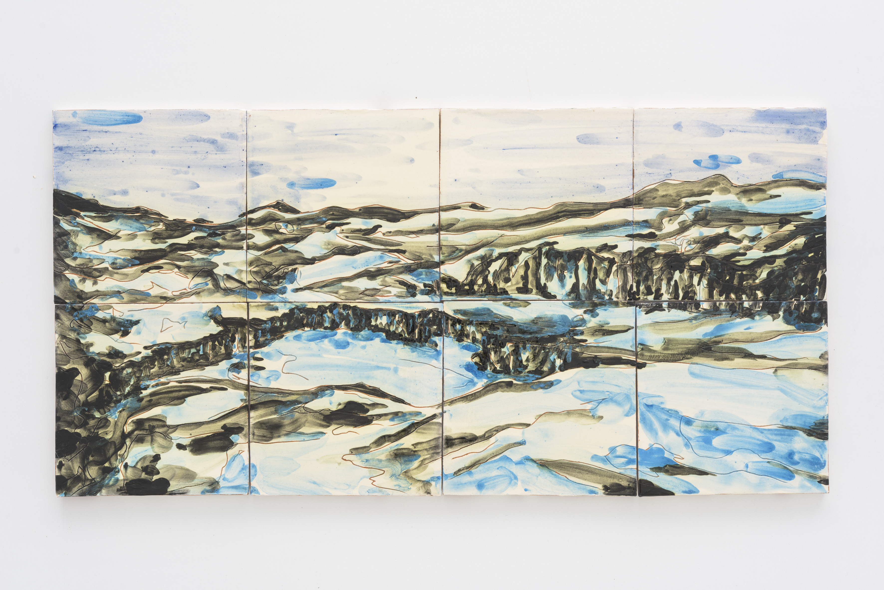 """Reclaimed VI"", 2 x 4 painted ceramic tiles, 30 x 60 cm., Portugal 2017"