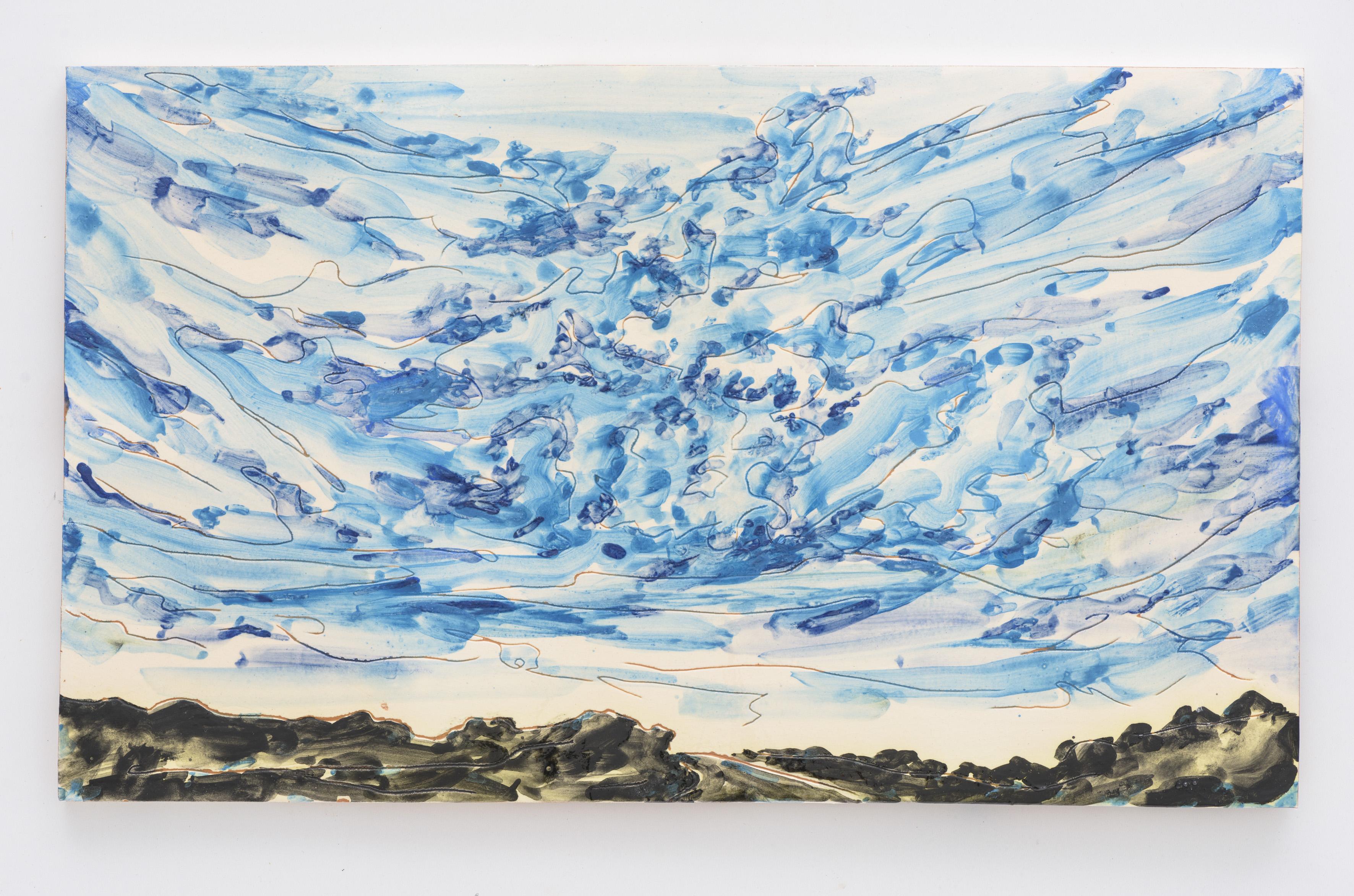 """Ceu Nublado"", painted ceramic tile, 30 x 50 cm. Portugal 2017"