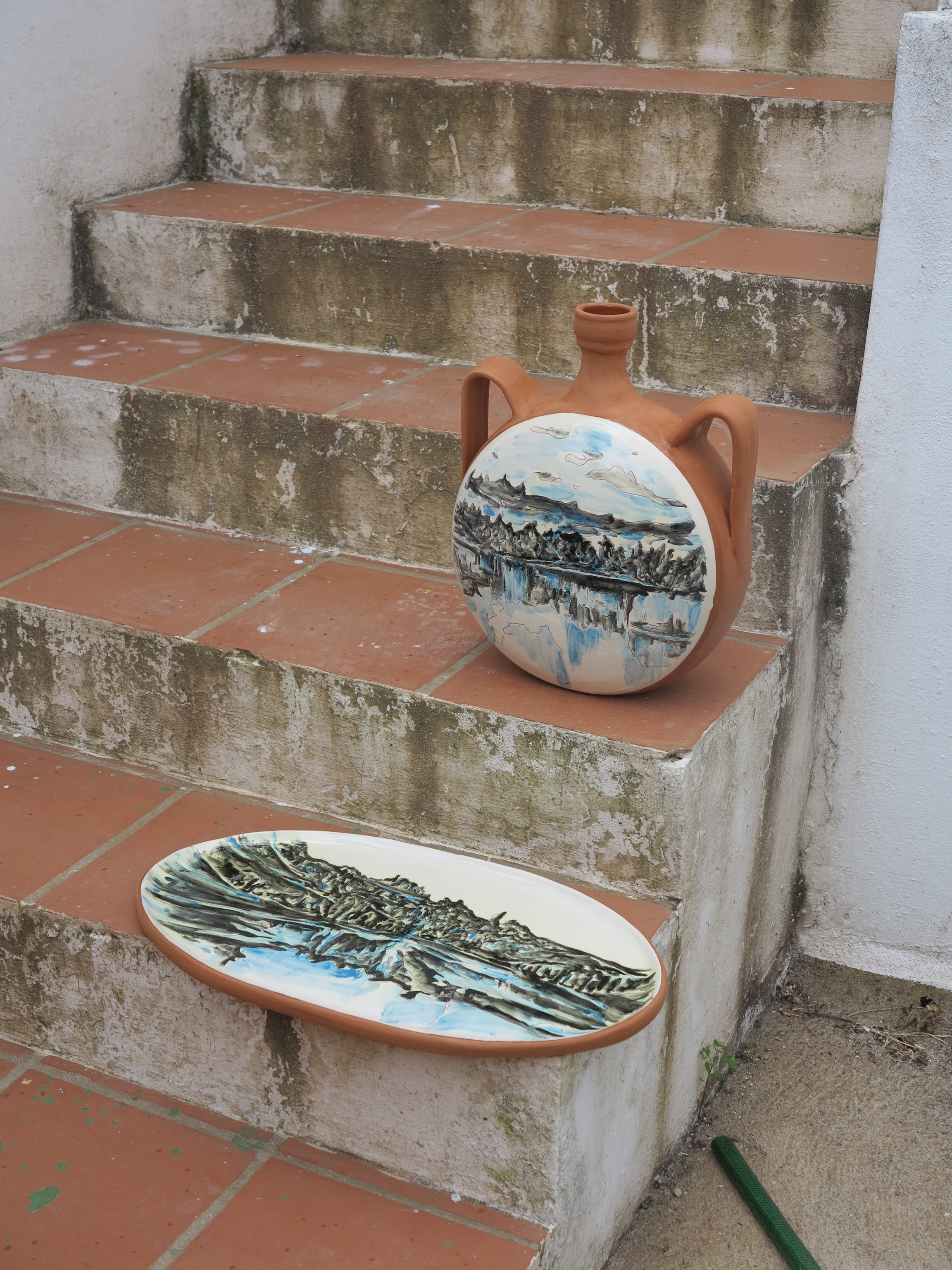 """Standing """"Barril"""", ceramic, two sides painted, 40 cm. high & """"Inverno"""" painted ceramic tile, 30 x 57 cm., Portugal 2016 - 2017"""