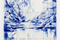 """""""Lago Azul"""" 75 x 60 cm. painted ceramic tile 2014"""