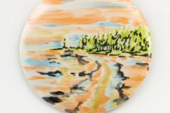 """""""Primavera' 33 x 33 cm. painted ceramic tile 2015"""
