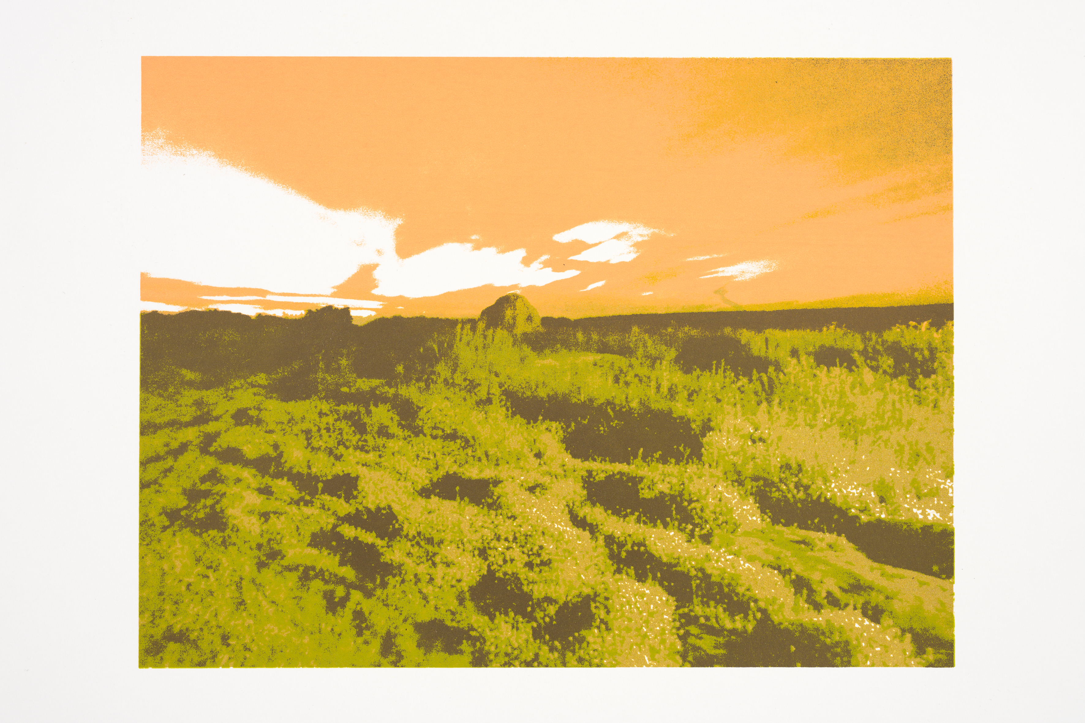 """Sun Down"" (2019), 24 x 37 cm., three color silkscreenprint (Printed at Beeldenstorm/Daglicht 2019)"