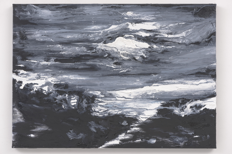 """""""White Moon, Black Road II"""" 50 x 70 cm. oil on linen 2016"""