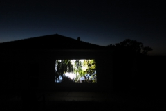 "Outside viewing on large scale of my short film ""Black Water (Berlin)"", Fundacao Obras, Portugal (2016)"
